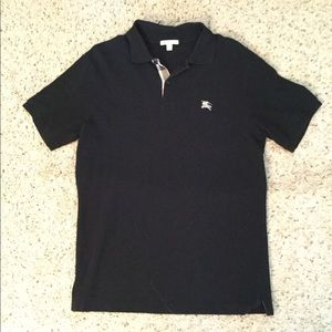 BURBERRY BRIT NOVACHECK BLACK POLO SHIRT MENS, NEW